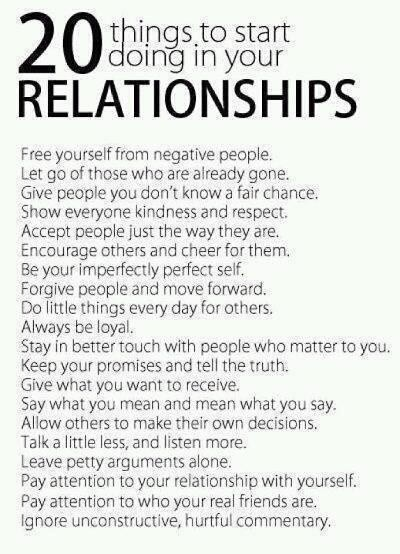 20 Things to Start Doing in Your Relationships